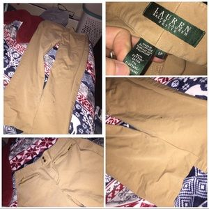 Woman tan dress pants
